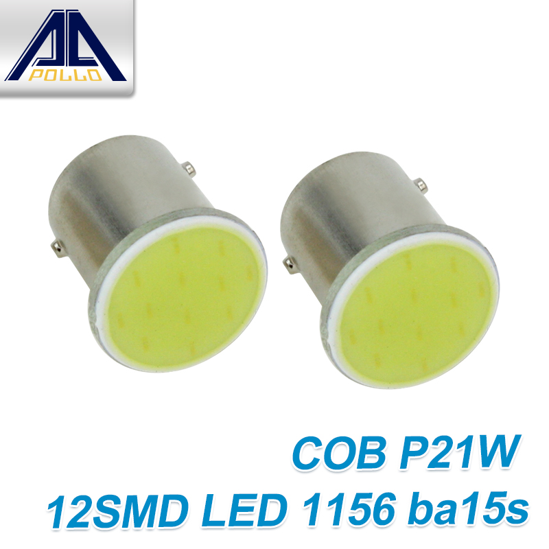 Free Shipping 1pcs Super White COB p21w led 12SMD 1156 ba15s DV12v bulbs RV car styling Light parking Auto led car lamp(China (Mainland))