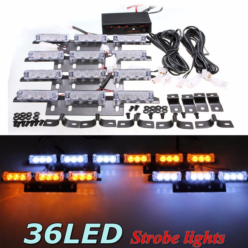 36 LED Flash Boat Truck Car Flashing Warning Emergency Windshield Unit For Police Strobe Light Lamp White Amber(China (Mainland))