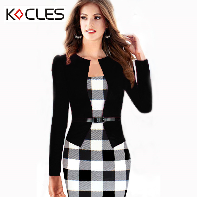 New Womens Elegant Faux Twinset Belted font b Tartan b font Optical Illusion Patchwork Wear to
