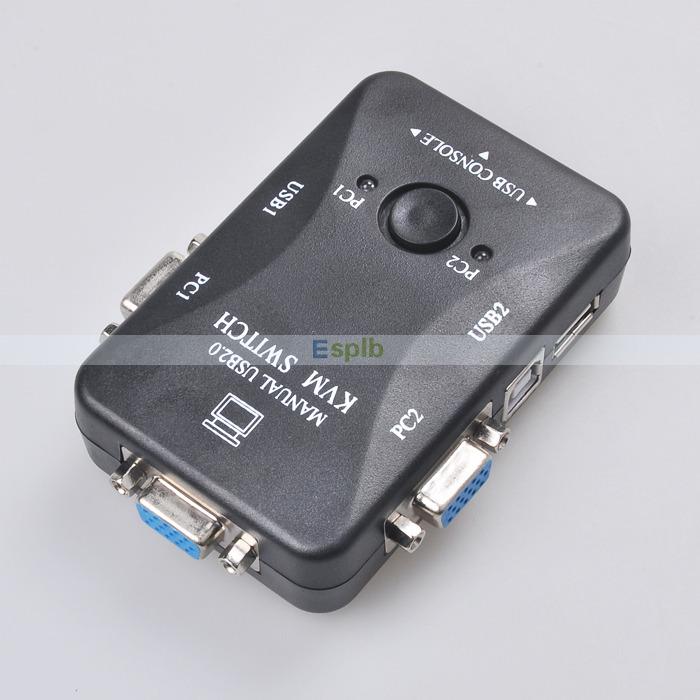 Portable USB 2.0 KVM 2 Ports Selector VGA Print Auto Switch Box Controller 1920*1440(China (Mainland))