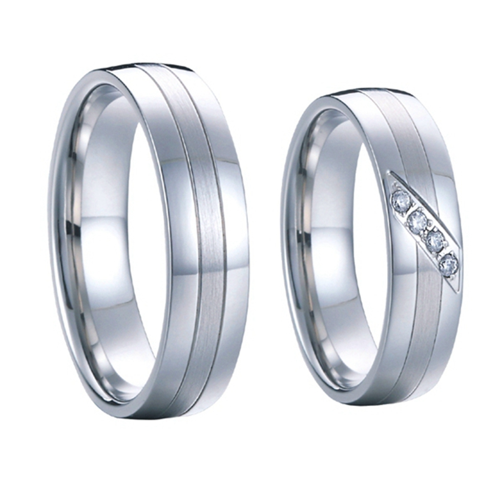 1 pair high end handmade custom silver white gold color wedding rings sets for men and women pure titanium steel jewelry(China (Mainland))