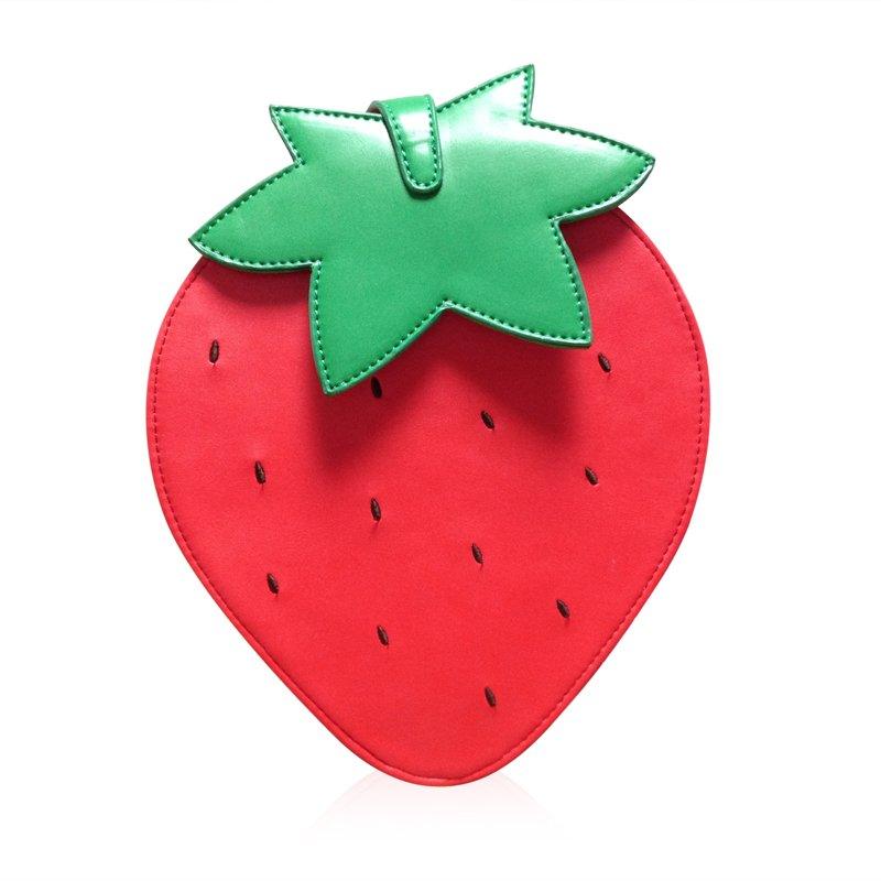 Lolita style cartoon fruit Messenger bags strawberry handbags PU leather keys cell phone pocket party bag 2 colors(China (Mainland))