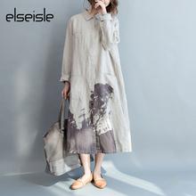 Buy elseisle Women Shirt Dress Linen Plus Size Casual Dress Long Sleeve Cotton Linen Loose Vintage Dresses Korean Fashion Clothing for $20.09 in AliExpress store