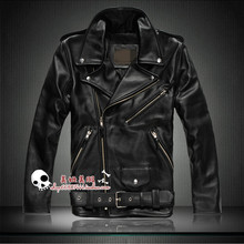 Hot ! Free shipping Men's brand winter classic male vintage genuine leather cowhide motorcycle calf leathe jacket coat clothing (China (Mainland))
