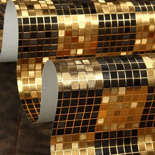 Buy moderno black gold mosaic metallic for Modern vinyl wallpaper
