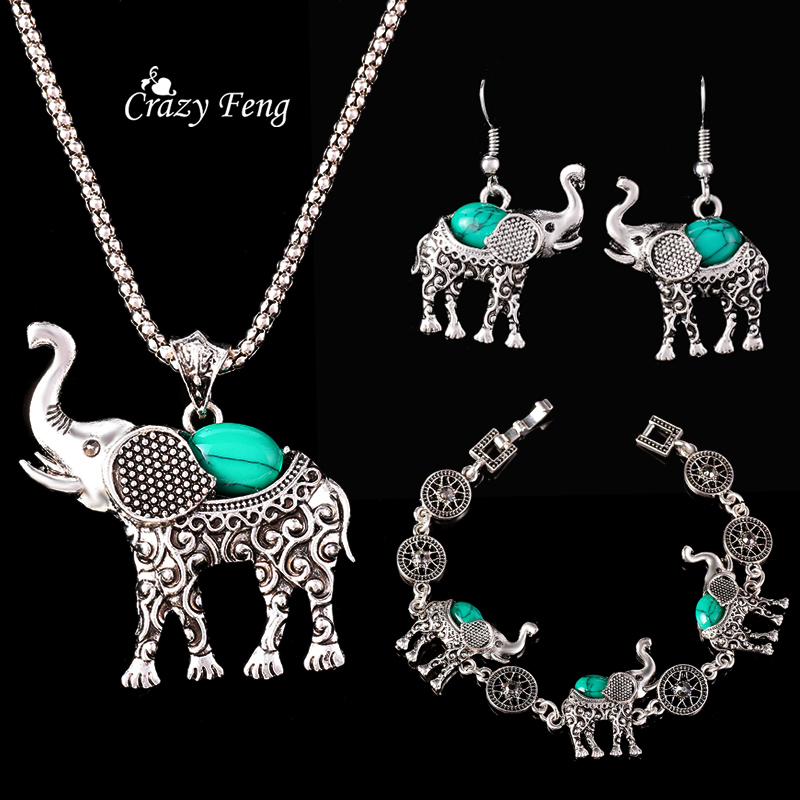 Fashion African Jewelry Set Vintage Silver Plated Turquoise Elepant Pendant Necklace Bracelet Earrings For Women Set Gift(China (Mainland))
