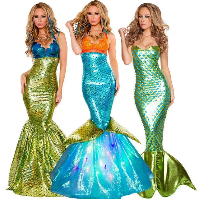 Women's Dresses Dresses Halloween Mermaid Costume Adult Sexy Fancy Dress Mermaid Sea Siren Costume for Girl(China (Mainland))