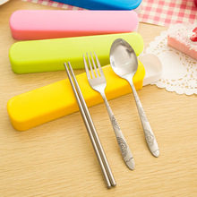 Portable Stainless Steel Cutlery Chopstick Spoon Dinnerware Set With Tray/ Perfect For School Bento Lunch Box Outdoor Usage(China (Mainland))