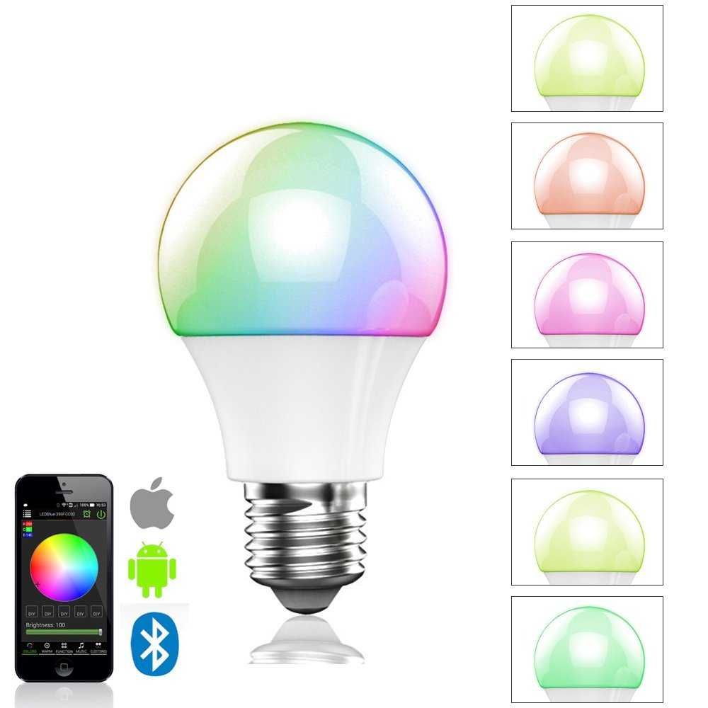 16000 Colors Change 4.5W E27 RGBW Wireless led light bulb Bluetooth 4.0 smart lighting Energy Save lamp dimmable Multicolored(China (Mainland))