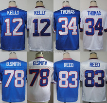 Buffalo uomo autentico ritorno al passato #12 jim kelly #34 thurman thomas #78 bruce smith #83 ander reed calcio jersey(China (Mainland))