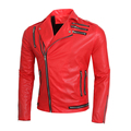 brand men jacket fashion multi zipper design Lapel motorcycle leather jacket coat men tight slim casual