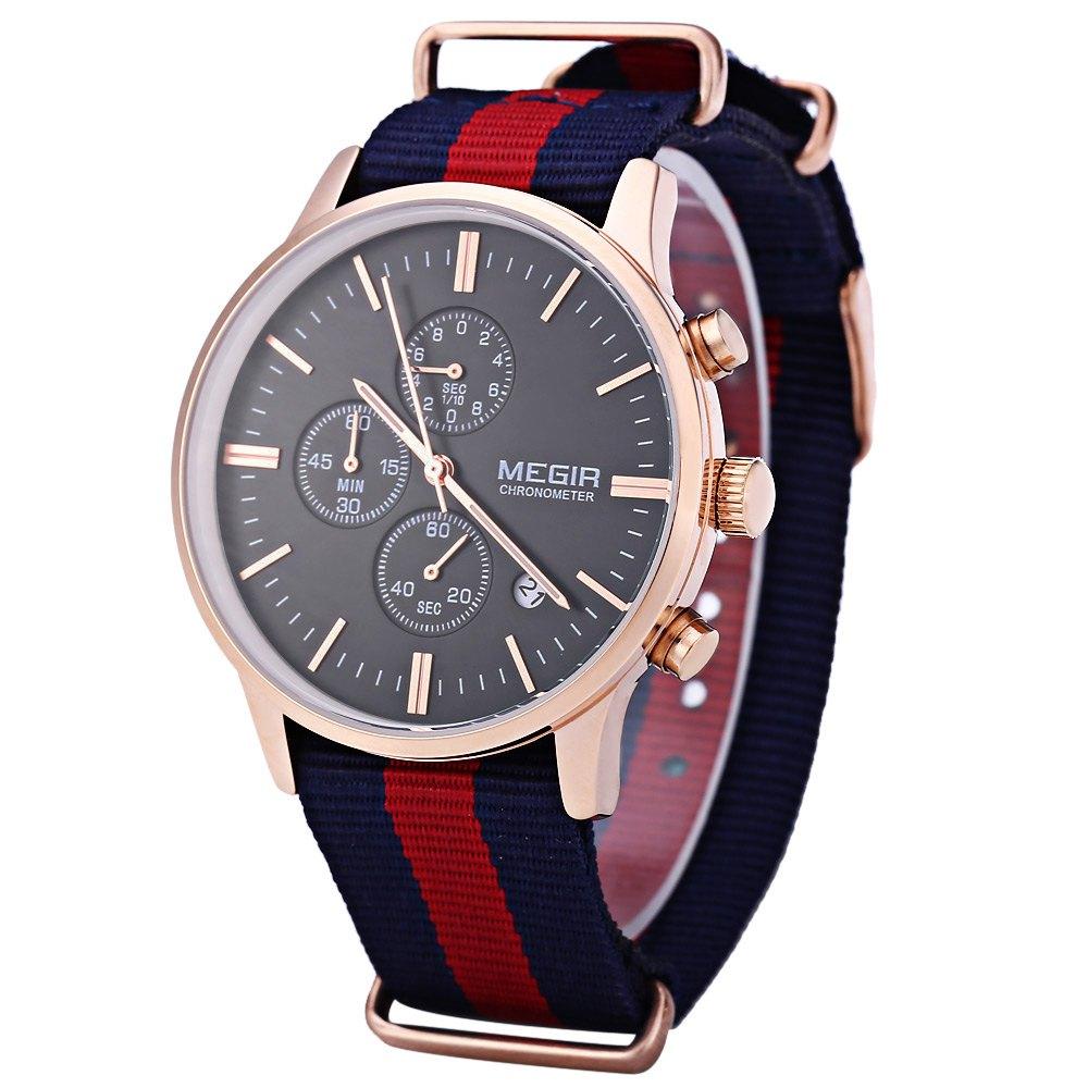 MEGIR M2011 Male Quartz Watch with Three Working Sub-dials Sport Wristwatch Relogio Masculino Canvas Strap Watches montre homme(China (Mainland))