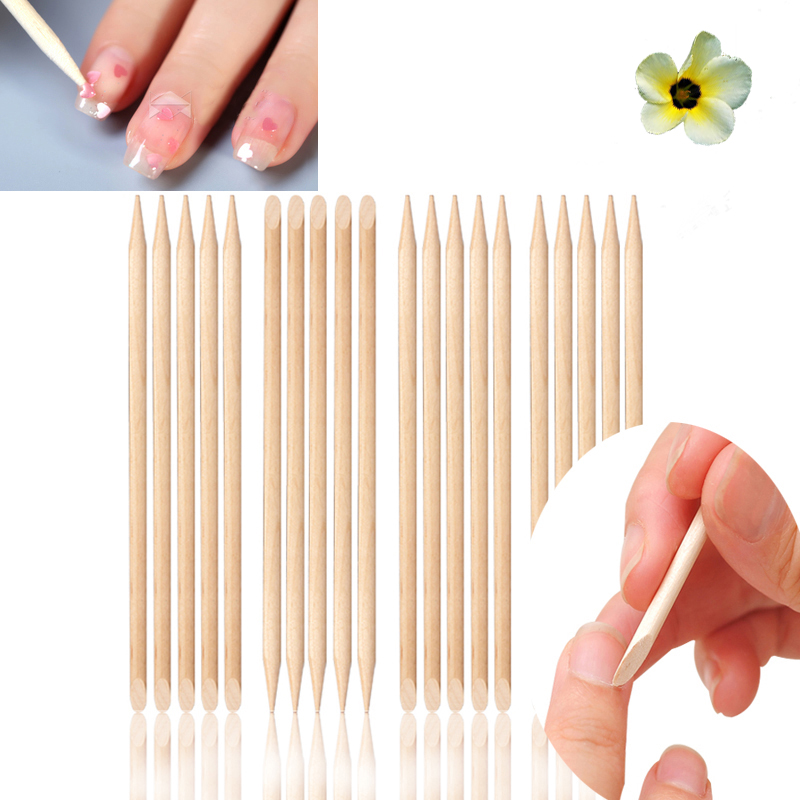 20pcs/pack Nail Art Orange Wood Stick Cuticle Pusher Remover for Manicures Care Free Shipping(China (Mainland))