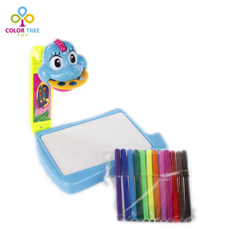 Children Educational Drawing Board Electronic Kids Painting Toy 3 In 1 Projector Learning Painting Board 12 Pens 21 Patterns(China (Mainland))