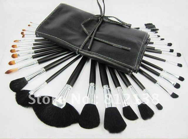 High quality !! free shipping:32Pcs  Professional Cosmetic make up silver Brush set  + leather Pouch+gift, 4sets/lot