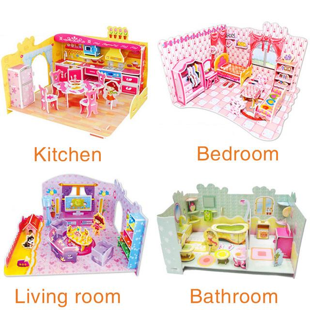 Детские игрушки 3D головоломки Спальня Кухня Гостиная Ванная комната бумажная модель строительство комплект игрушки для детей девушка поделки ручной работы подарок