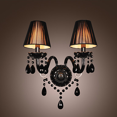 Black Crystal LED Wall Lamp Light with 2 Lights in Fabric Shade Wall Sconce Free Shipping-in LED ...