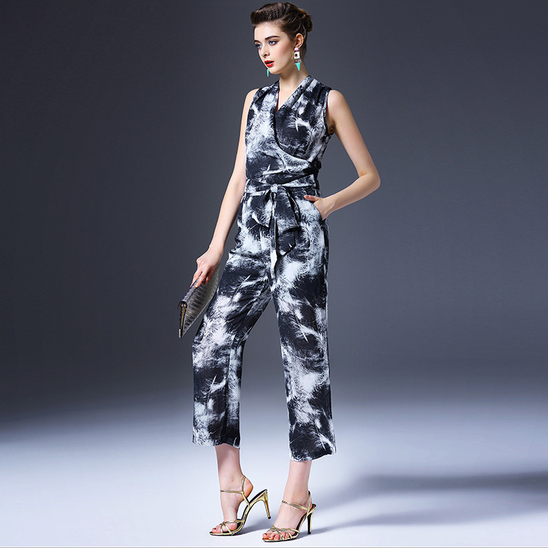 Europe women printing boutique development of the new spring and summer 2016 slim pants Jumpsuit dress Q6279 Shenzhen