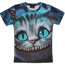 Hot Sale fashion Novelty Unisex t-shirt Alice in Wonderland grinning kitty cat printing 3d tshirt for men women cute tee