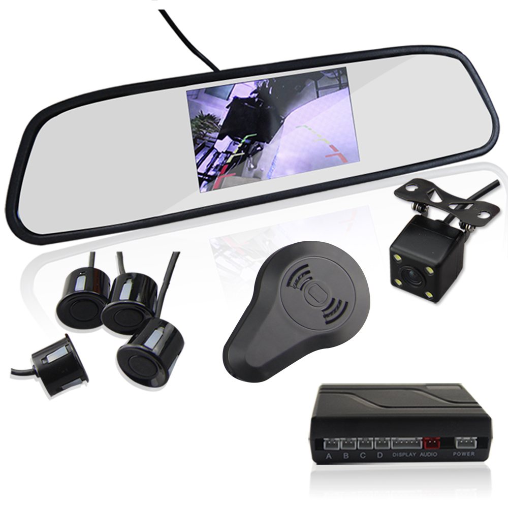 3in1 Video Parking Sensor Assistance Monitor 4 3inch TFT LCD Display Alarm Camera Video Rearview Mirror