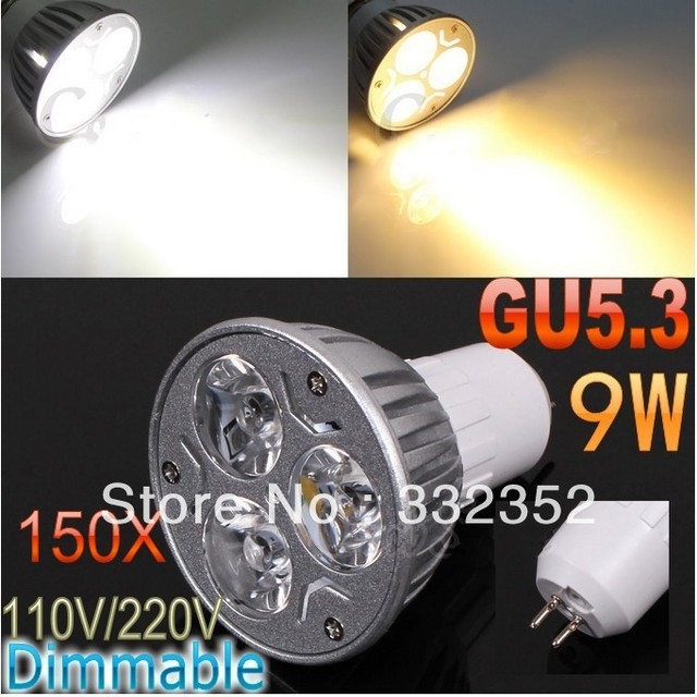 DHL FEDEX Free Shipping 150pcs/lot GU5.3 High power CREE 3x3W 9W 110V-240V Dimmable Light lamp Bulb LED Downlight Bulb spotlight