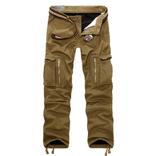 2015 Plus Size Sports Winter Double Layer Men's Cargo Pants Military Camouflage Outdoor Army Baggy Jogging Cotton Trousers