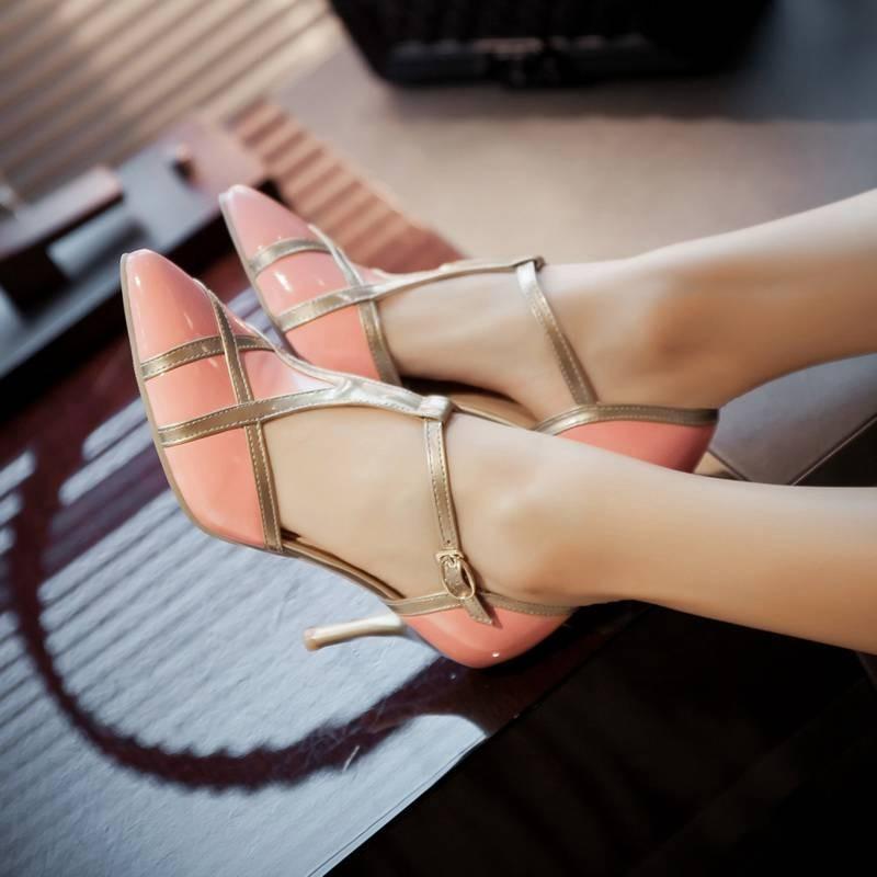ซื้อ พลัสSize34-48 2016ผู้หญิงG Ladiatorรองเท้าแตะชี้นิ้วเท้าส้นสูงรองเท้าพรหมรองเท้าหนังปั๊มออกแบบรองเท้าแตะของผู้หญิงPS1408