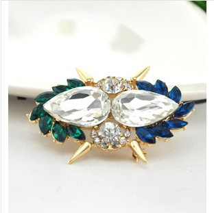 2015 Elegant artificial crystal gem flower brooches women,Fashion gold plated brooch pins,BP24,classical gift - Jin Hua Qi Hong Jewelry Factory store