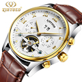 Skeleton Watch Men Mechanical Automatic Watch Tourbillon Kinyued Luxury Brand Men Wristwatch Brown Leather Strap Erkek