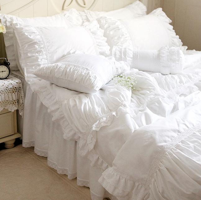 Acheter de luxe dentelle blanche volants ensemble de literi - Acheter un lit king size ...