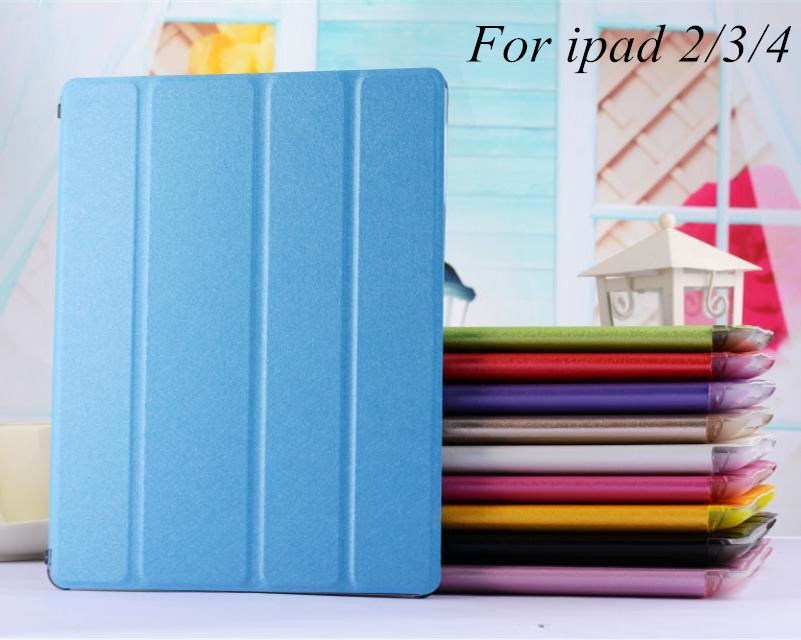 New Ultrathin 4 fold Smart Luxury pu Leather case Clear Back Case For Apple ipad 2/3/4 Retina Accessories Stand Cover for ipad 4(China (Mainland))