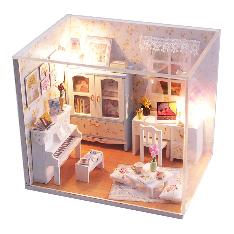 3d diy wooden dollhouse miniatures model building kits with miniature furniture hemiola 39 s room Dollhouse wooden furniture