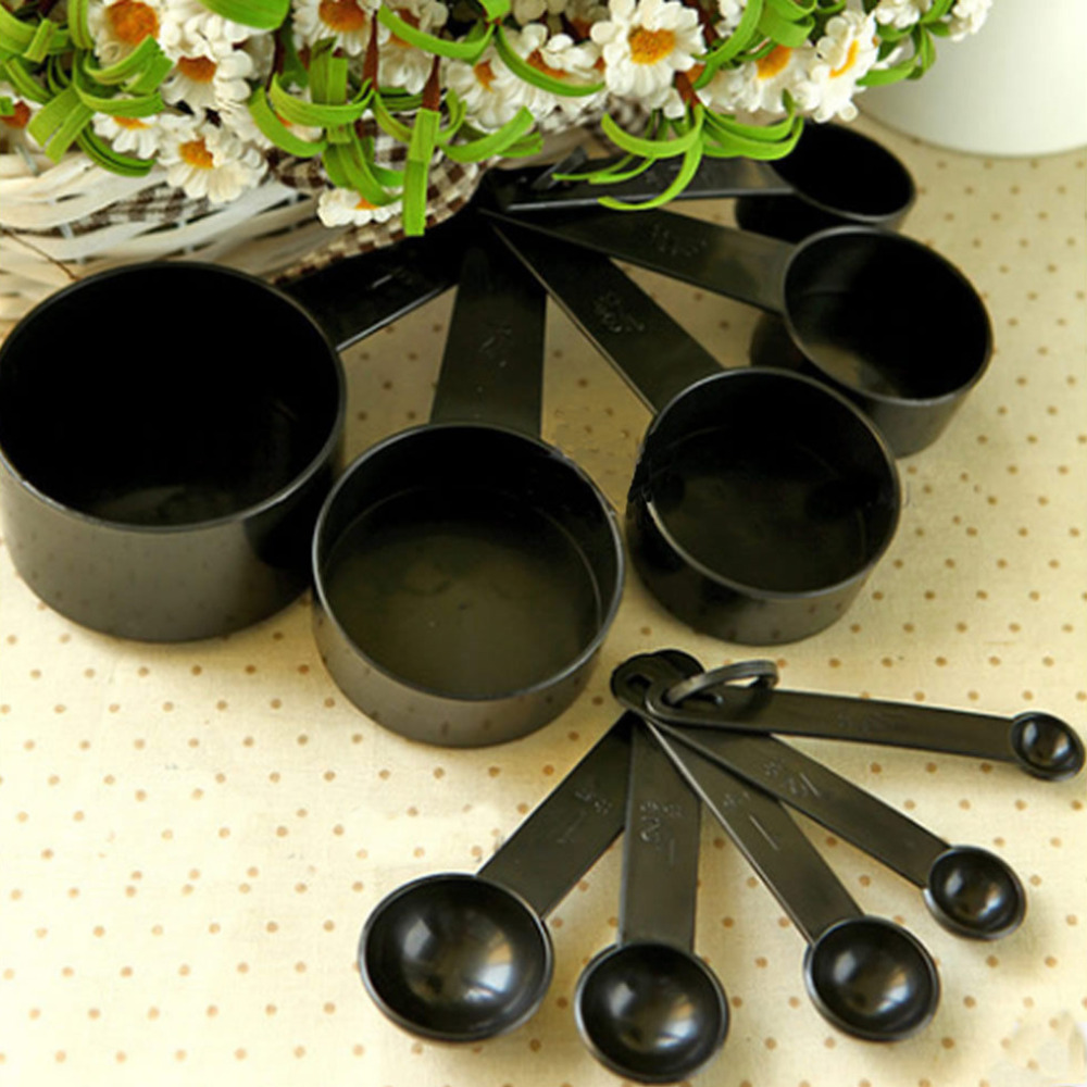 Black Plastic Measuring Cups 10pcs/lot Measuring Spoon Kitchen Tools Measuring Set Tools For Baking Coffee Tea(China (Mainland))