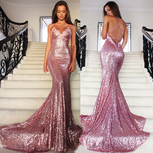 Rose Gold Mermaid Sexy Backless Sparkling Sequins Prom Dresses 2016 Vestidos De Party Evening Formal Occasion Gowns - Lacegirl Co.,Ltd store