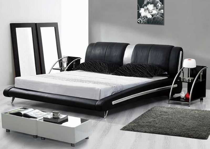 free shipping lb1008 leather modern bedroom set beds in beds from