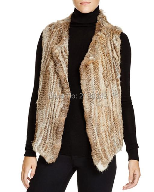 FV026 Фабрики Китая Продавать Супер Качество Женщин Одежда/Ручной трикотажные Настоящее Кролика Меховой Жилет