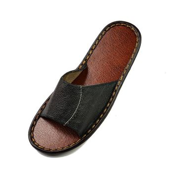 House Shoes Slippers Skid Genuine Leather Slippers 2016 Summer men Slippers Adult Funny House Shoes Slippers
