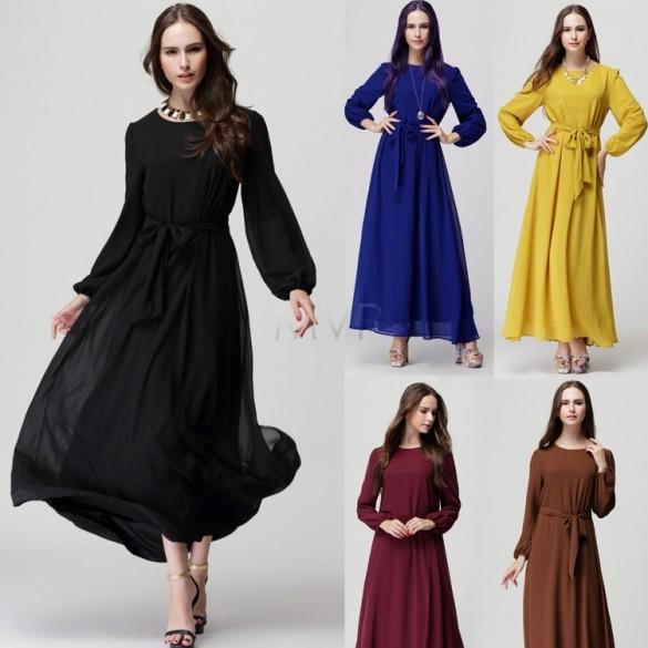 2015 new fashion O-Neck maxi women dress long sleeve Chiffon party dress M/L 5 Colors Sashes sexy casual summer dress 31(China (Mainland))