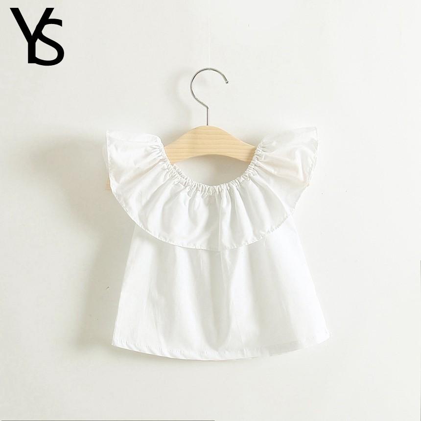 4-12T 95% Cotton Little Girls Shirt Off The Shoulder White T Shirt Kids Top Children Clothes Tolder Clothing Child Summer Blouse