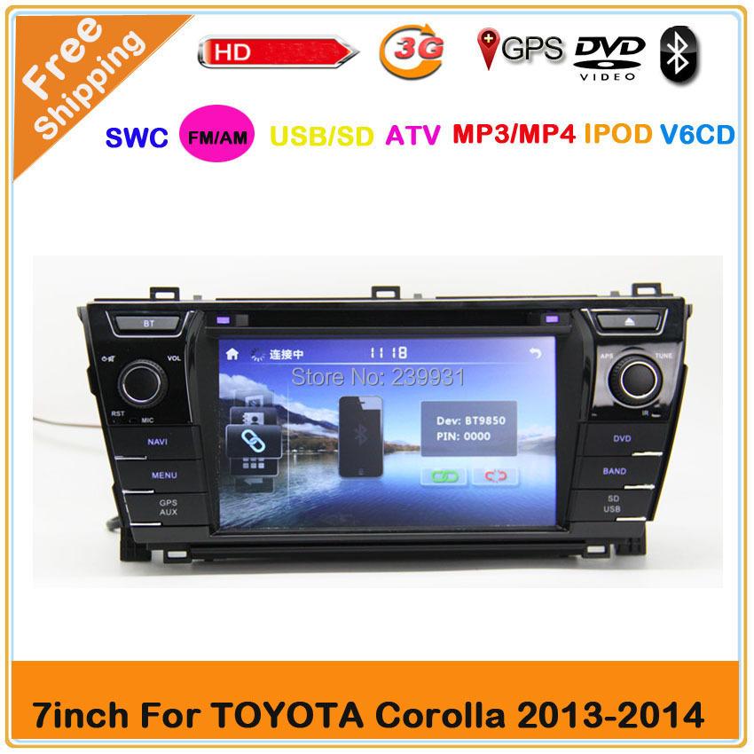 2din 7 inch TOYOTA COROLLA 2013 2014 Car DVD GPS Navigation player with GPS Radio Video player Russia Menu 3G USB Free shipping(China (Mainland))