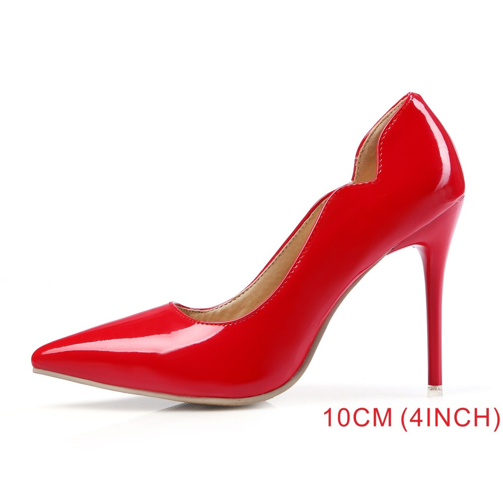 Brand New Fashion Red White Women Nude Formal Pumps Ladies Bridal Shoes High Gladiator 4 Inch Heels EM12 Plus Big Size 10 43 47(China (Mainland))