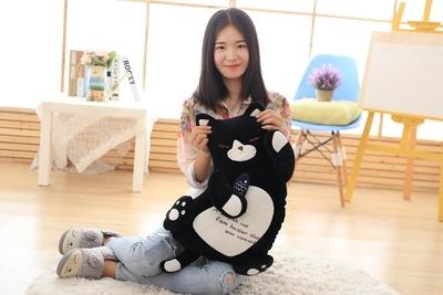 about 50cm black cat hug small fish soft plush toy large throw pillow birthday gift b0890(China (Mainland))