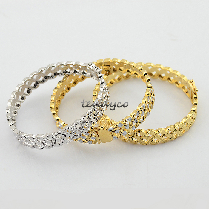 3 Style Womens Vacuum 18K Yellow/Silver Gold Filled Beauty Gold Banges Party Open Jewelry DIA.55mm(China (Mainland))