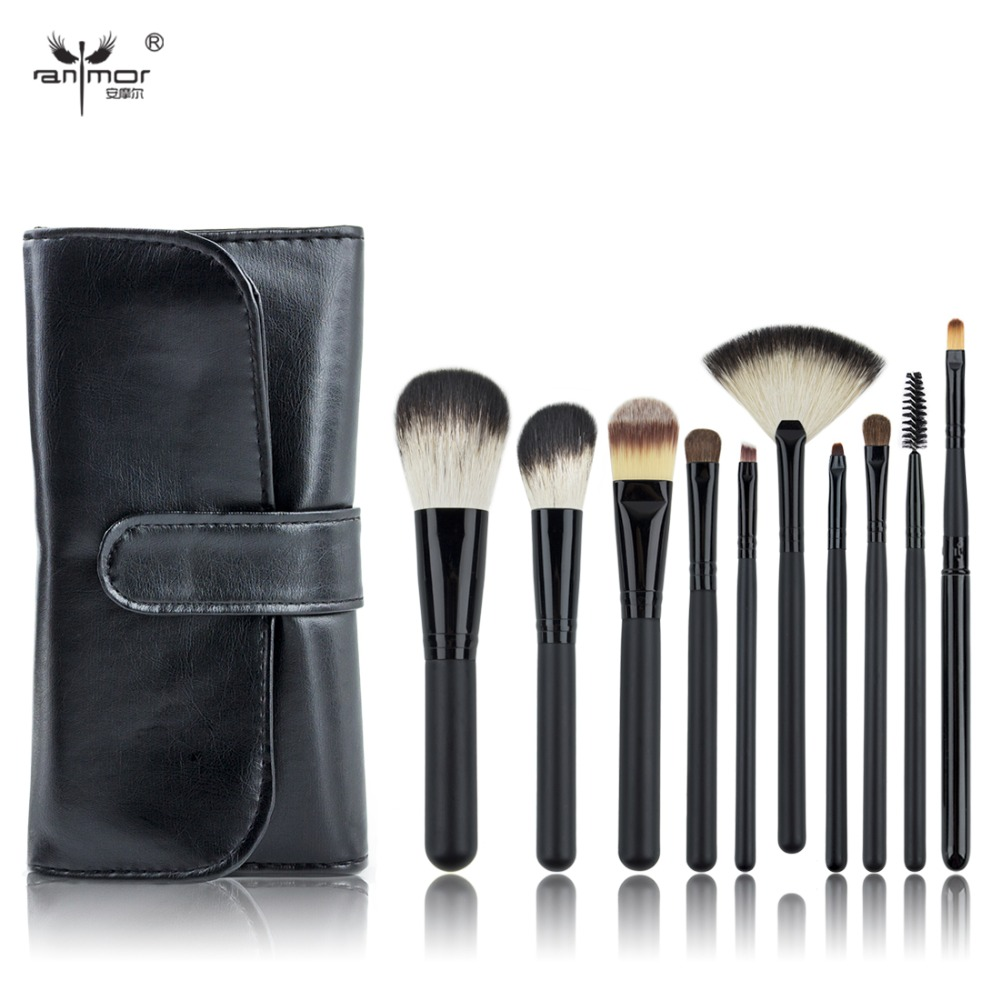 10 PCS Makeup Brush Set Black Make Up Brushes Professional Makeup Brushes With Black Bag(China (Mainland))