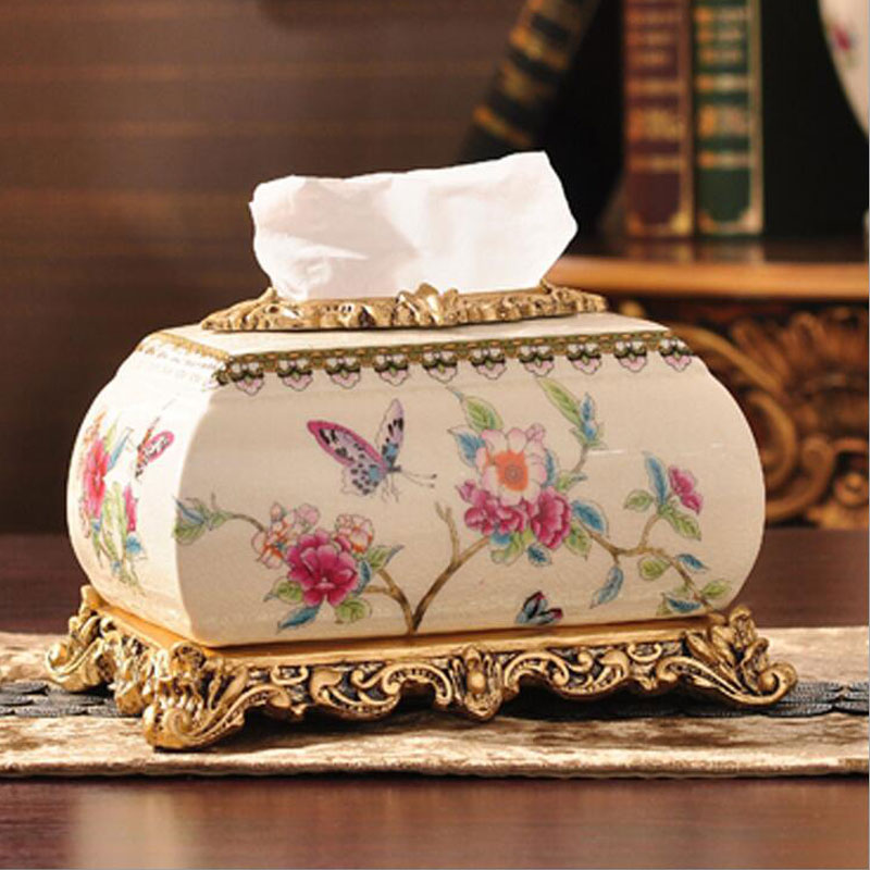 Luxury Retro Butterfly Ceramic Tissue Box Court Style For Home Hotels Table Decoration Hand Made Wedding Gift Box(China (Mainland))