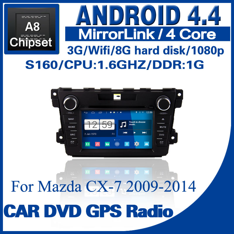 3pcs/lot Android 4.4 car dvd for Mazda CX-7 2009-2014 s160 with dvd GPS radio BT TV USB SD 3G Wifi Free shipping ES-1273A(China (Mainland))