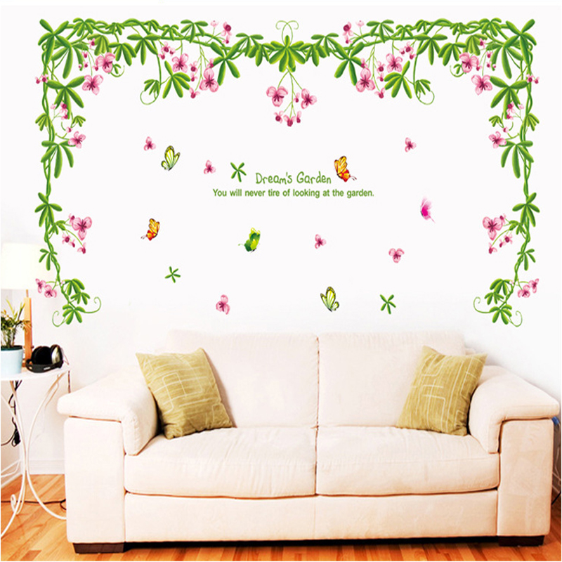 Romantic flower vine wall sticker living room bedroom wall for Decoration autocollant mural