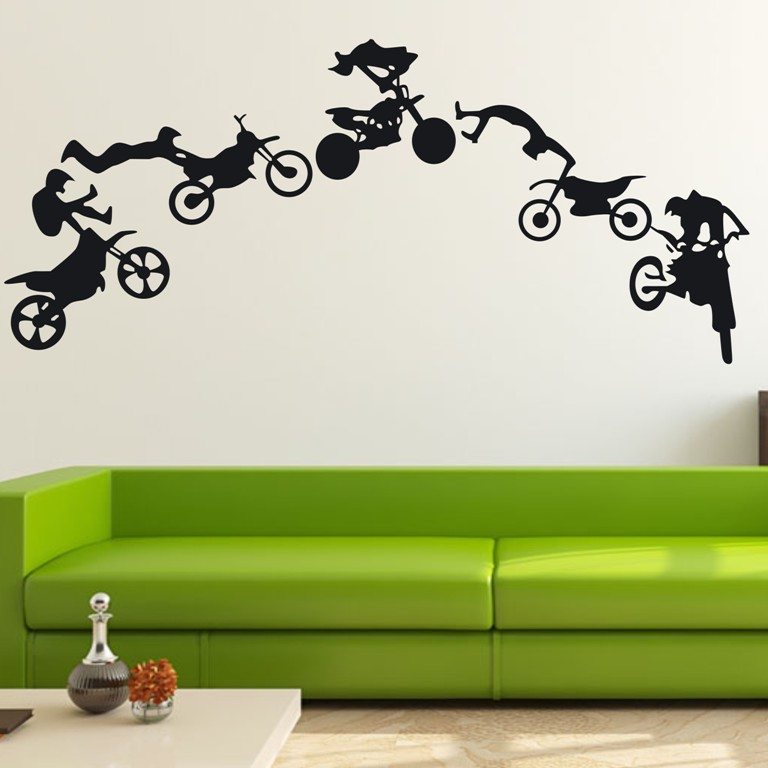 Motocross Motor Bike Wall Decor Removable Home Vinyl Decal Wall Sticker Art DIY Mural Wallpaper