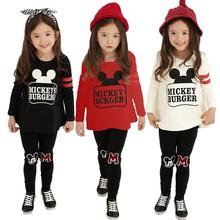 z6  Autumn Winter Kids Girls Clothes Set Children Casual Mickey Sport Suit Long Sleeve +Pants 2pc Clothing Sets outfit Costume