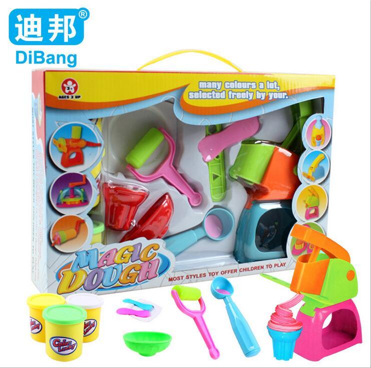 DiBang Soft Plastic DIY Handmade Magic Playdough Toys Tools Set Multicolor Polymer Clay Plasticine Molds Children Education Toy(China (Mainland))